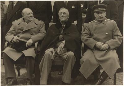 Churchill, Roosevelt and Stalin at Yalta