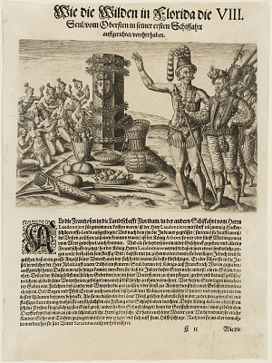 The Indians worship at the column erected by the French