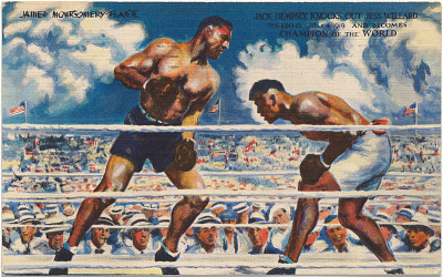 Postcard: Jack Dempsey Knocks Out Jess Willard, July 4, 1919, and Becomes Champion of the World