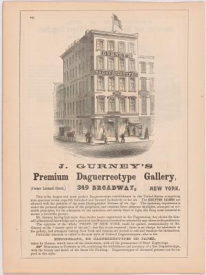 J. Gurney's Premium Daguerreotype Gallery, 349 Broadway, New York