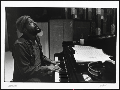 Marvin Gaye at the recording session for
