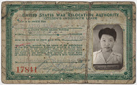 Image of Ruth Asawa internment camp ID