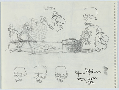 Two heads of LBJ and other sketches