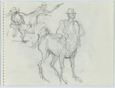 Two sketches of LBJ as centaur