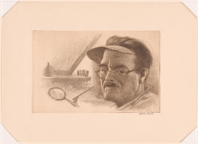Self-Portrait with Etching Equipment