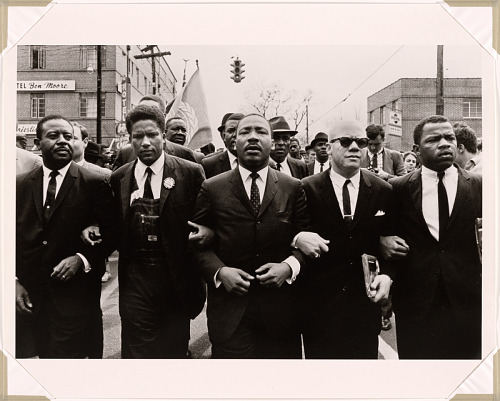 Martin Luther King Marching for Voting Rights with John Lewis, Reverend Jesse Douglas, James Forman and Ralph Abernathy, Selma, 1965