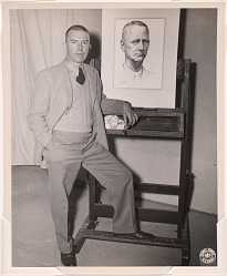 Tom Lea with his portrait of General Wainwright, 1945