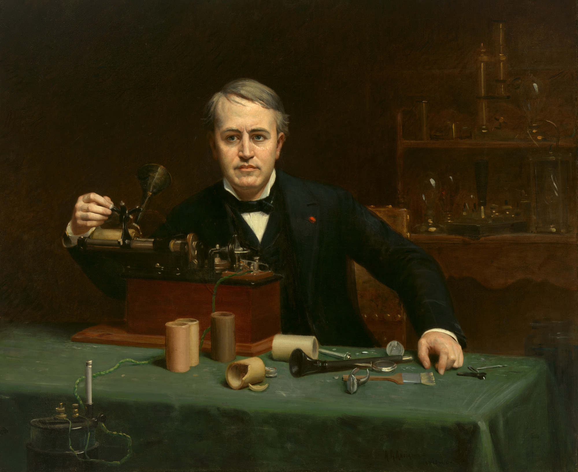 Image result for Thomas Edison patents the phonograph. painting