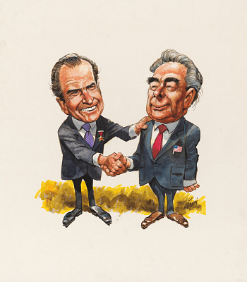 Richard Nixon and Leonid Brezhnev