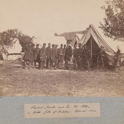 President Lincoln and Gen. McClellan on Battle-Field of Antietam