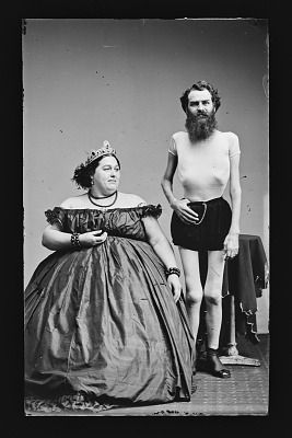 Fat Lady and Human Skeleton