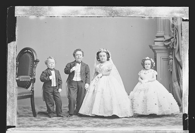 Charles and Lavinia Stratton, G.W.M. Nutt, and Minnie Warren (wedding party)