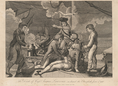 The Death of Captain James Lawrence on Board the Chesapeake, June 1st 1813