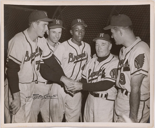 Hank Aaron, Delbert Rice, Andrew Pafko, Fred Haney and Joseph Adcock