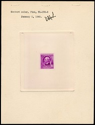 3c American Authors Ralph Waldo Emerson die proof attached to plate proof