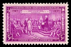 """3c Constitution Sesquicentennial """"Adoption of the Constitution"""" single"""