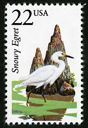 22c Snowy Egret single