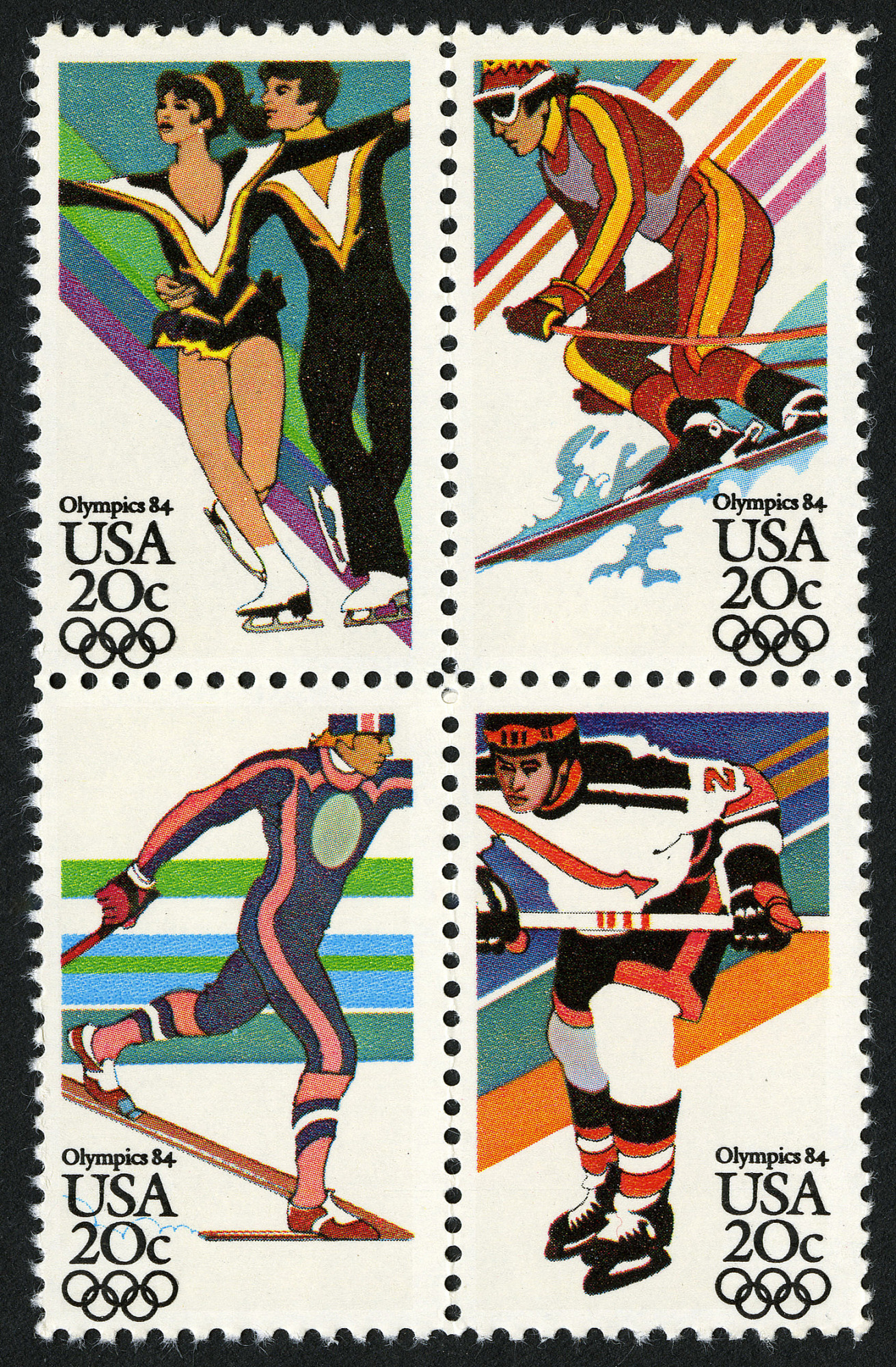 images for 20c Fourteenth Winter Olympic Games block of four