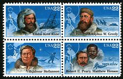 22c Arctic Explorers block of four