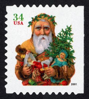 34c Santa Holding Toys booklet single
