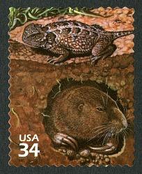 34c Eastern Short-horned Lizard and Plains Pocket Gopher single