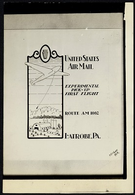 Photograph of cachet art for Contract Airmail Route 1002