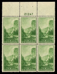 1c National Parks Yosemite top plate block of six