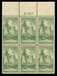 8c National Parks Zion top plate block of six