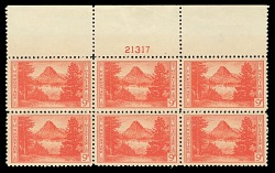 9c National Parks Glacier top plate block of six