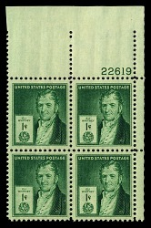 1c American Inventors Eli Whitney plate block of four