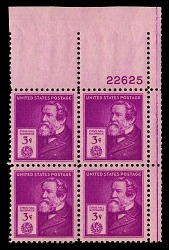 3c American Inventors Cyrus Hall McCormick plate block of four