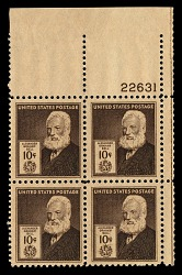 10c American Inventors Alexander Graham Bell plate block of four