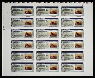 $15 Hooded Mergansers revenue stamp press sheet