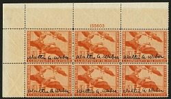 $1 White-fronted Geese plate block of 6