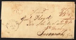 37.5c double War of 1812 letter rate for 90-150 miles forwarded stampless cover
