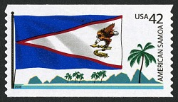 42c American Samoa Flag, Island Peaks and Trees coil single