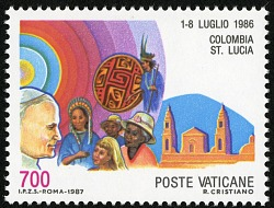 700 lire Pope John Paul II Trip to Columbia, St. Lucia single