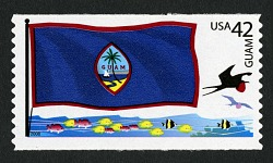 42c Guam Flag, Fish and Tropicbird coil single