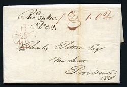 $1.02 quadruple War of 1812 letter rate for 150-300 miles stampless cover