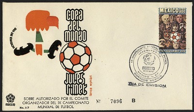 80c Soccer Ball and Mexican Masks first day cover