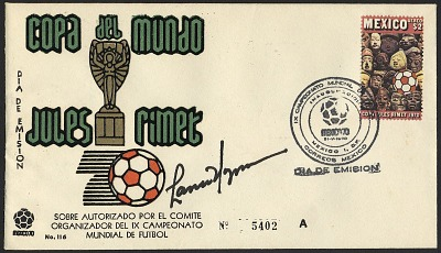 $2 Pre-Columbian Sculptured Heads and Soccer Ball first day cover with signature
