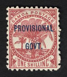 Overprint on 1sh stamp of Samoan Kingdom single