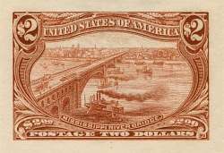 $2 Trans-Mississippi River Bridge Panama-Pacific small die proof