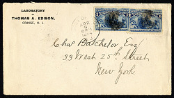1c Columbus in Sight of Land pair on cover