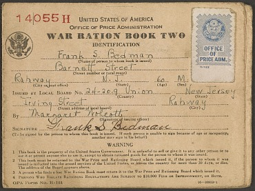 War ration book, about 1942