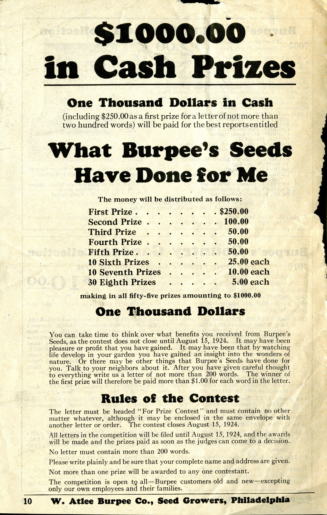 Contest Announcement, 1924
