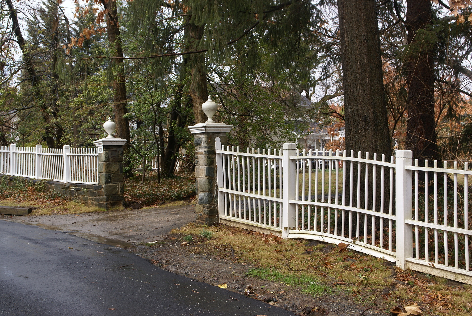 [Marsh Garden]: the gateposts and fences were designed by Rose Greely.