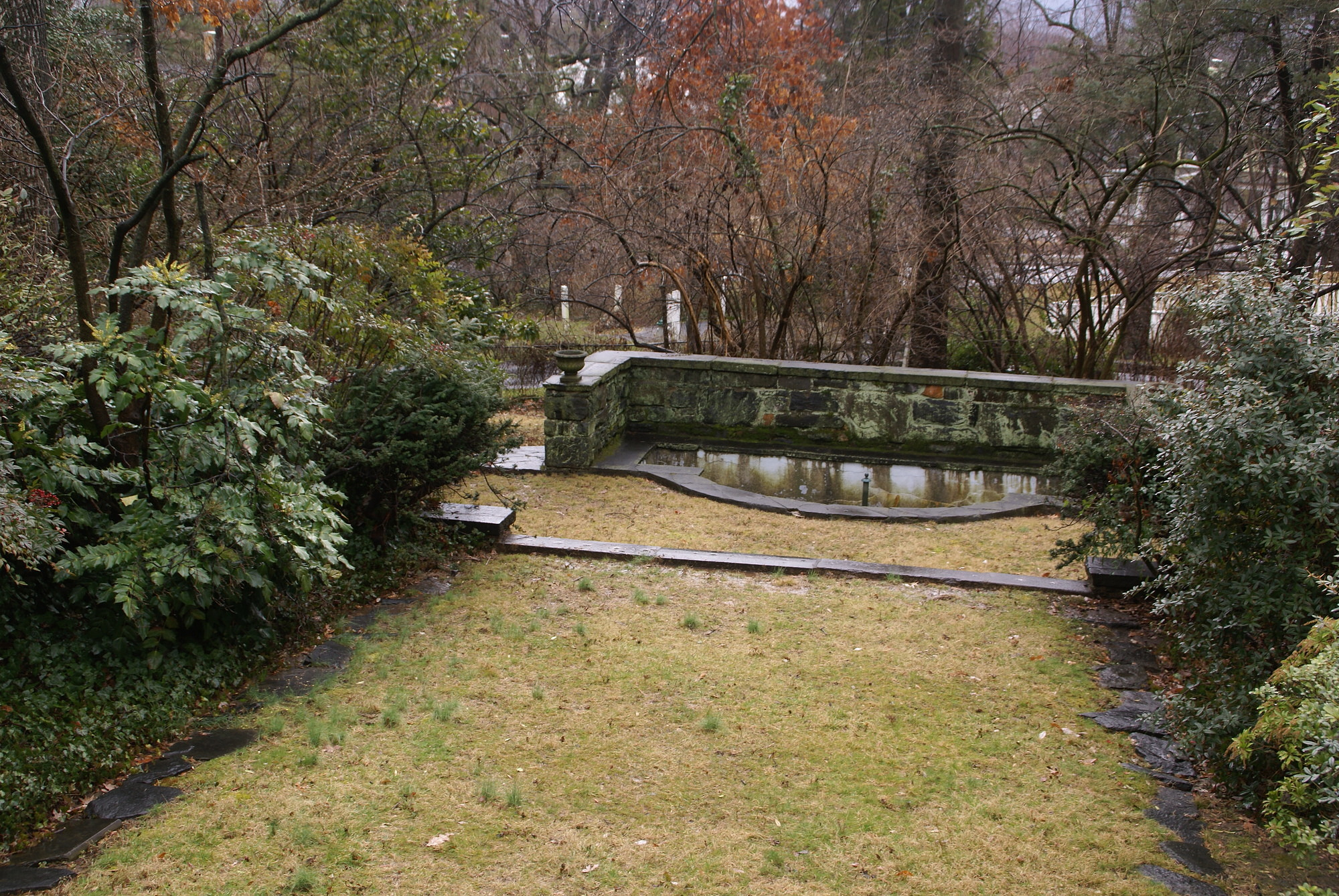 [Marsh Garden]: the pond is in the lowest terrace of the walled garden.
