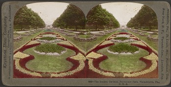 Outside Horticultural Hall, elaborate flower beds were arranged in intricate designs.