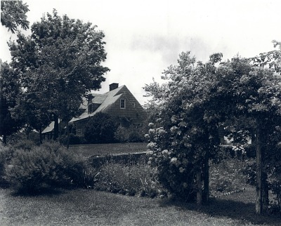 [Hillspoint] [digital image]: cedar post arbors in the original rose and cutting garden